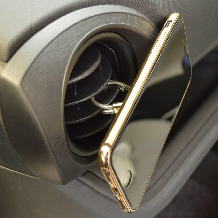 ラスタバナナ iPhone スマホ 2in1 スマホリング エアコン送風口対応 車載ホルダー 落下防止リング 視聴スタンド ブラック 5