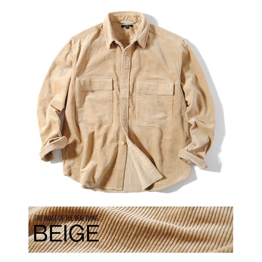 ヘビーコーデュロイシャツ 8wコーデュロイ メンズ ビッグポケット シャツ 厚手 冬用 冬服 ビッグシャツ 46