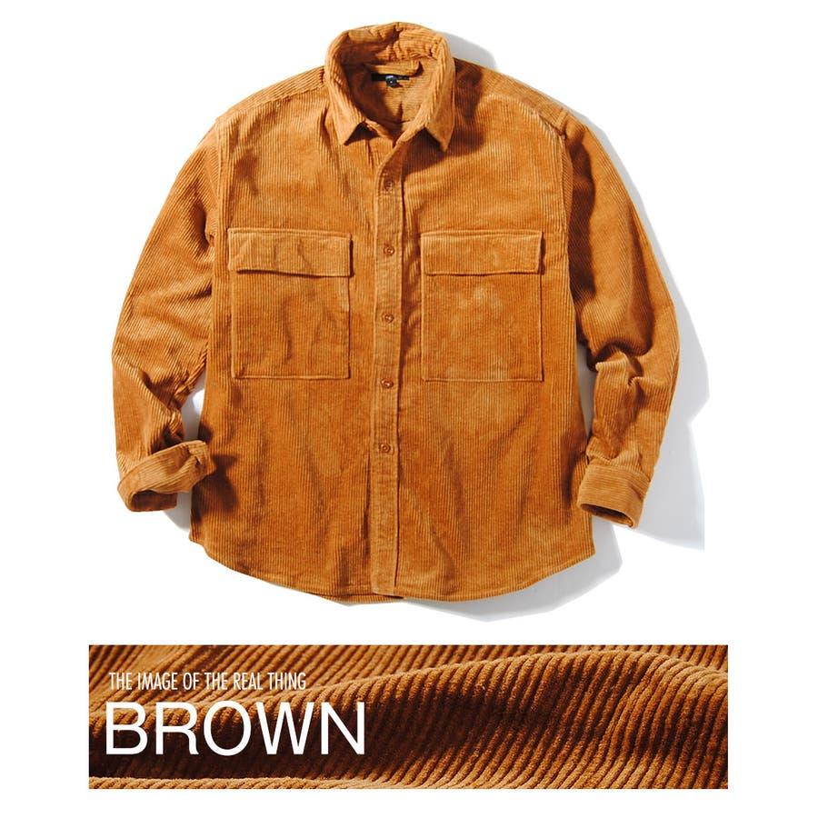 ヘビーコーデュロイシャツ 8wコーデュロイ メンズ ビッグポケット シャツ 厚手 冬用 冬服 ビッグシャツ 40