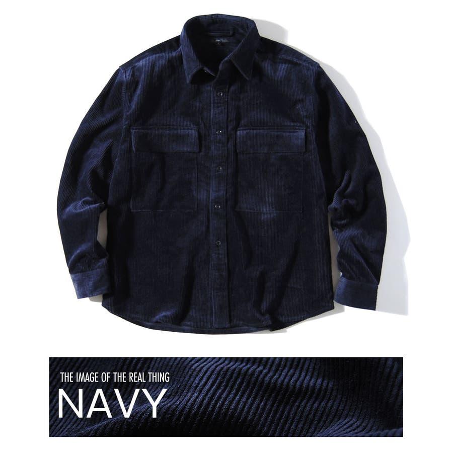 ヘビーコーデュロイシャツ 8wコーデュロイ メンズ ビッグポケット シャツ 厚手 冬用 冬服 ビッグシャツ 64