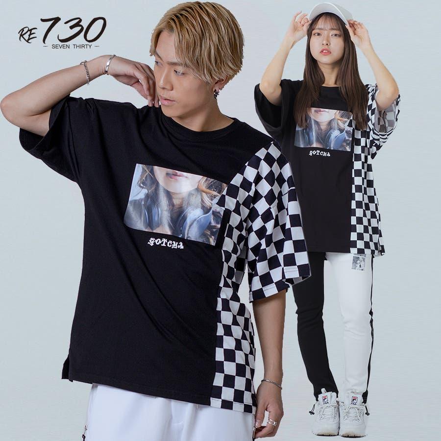 フラッグチェックビッグTシャツ 3