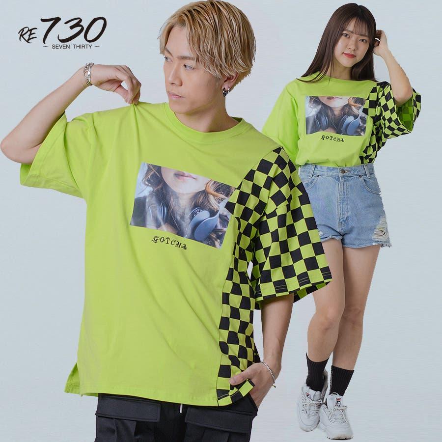 フラッグチェックビッグTシャツ 2