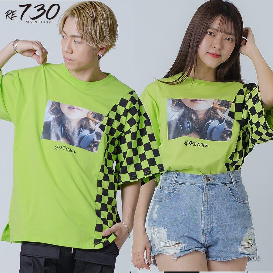フラッグチェックビッグTシャツ 86