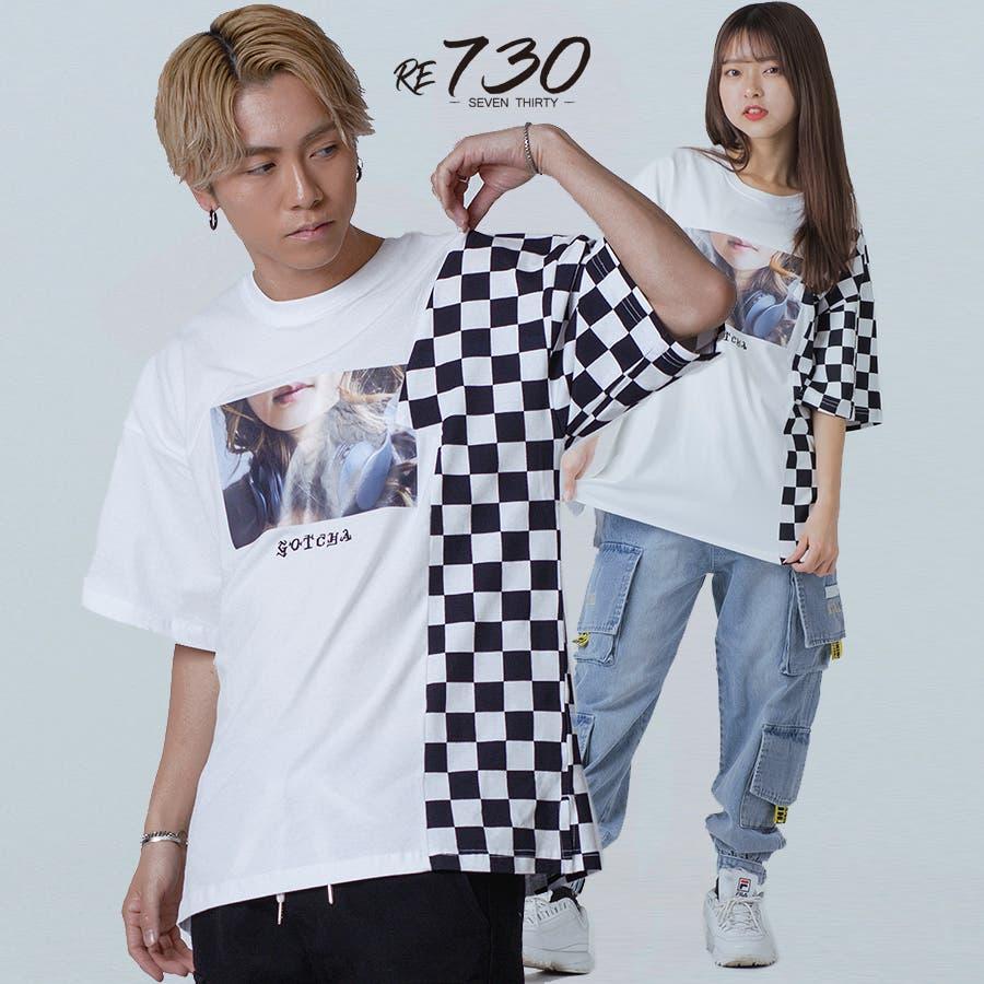 フラッグチェックビッグTシャツ 1