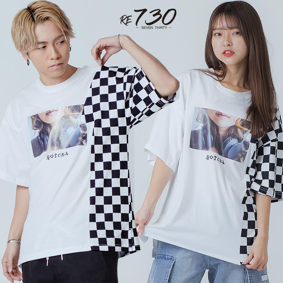 フラッグチェックビッグTシャツ 20