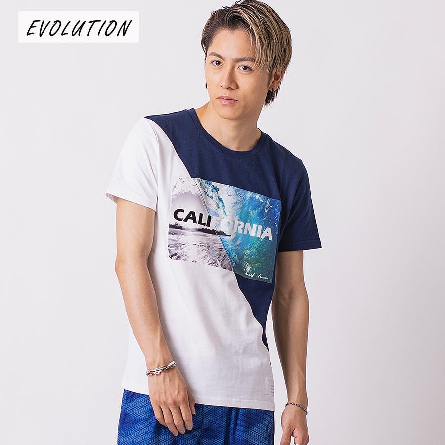 フロッキープリント切替えTシャツ 64