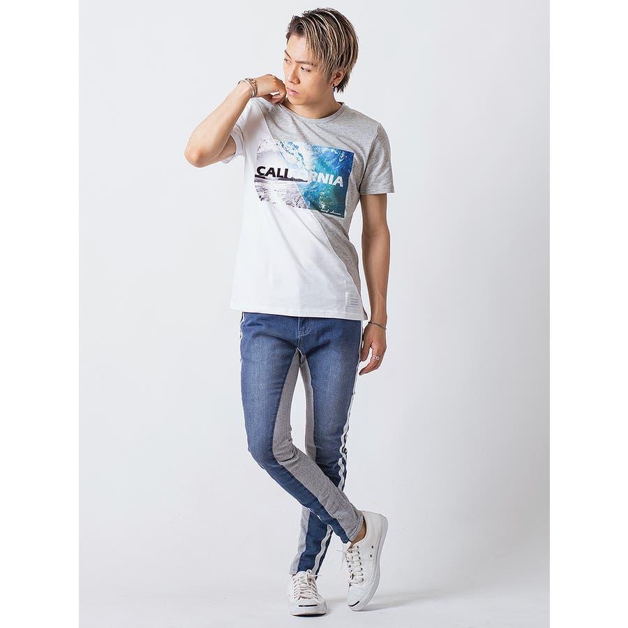 フロッキープリント切替えTシャツ 5