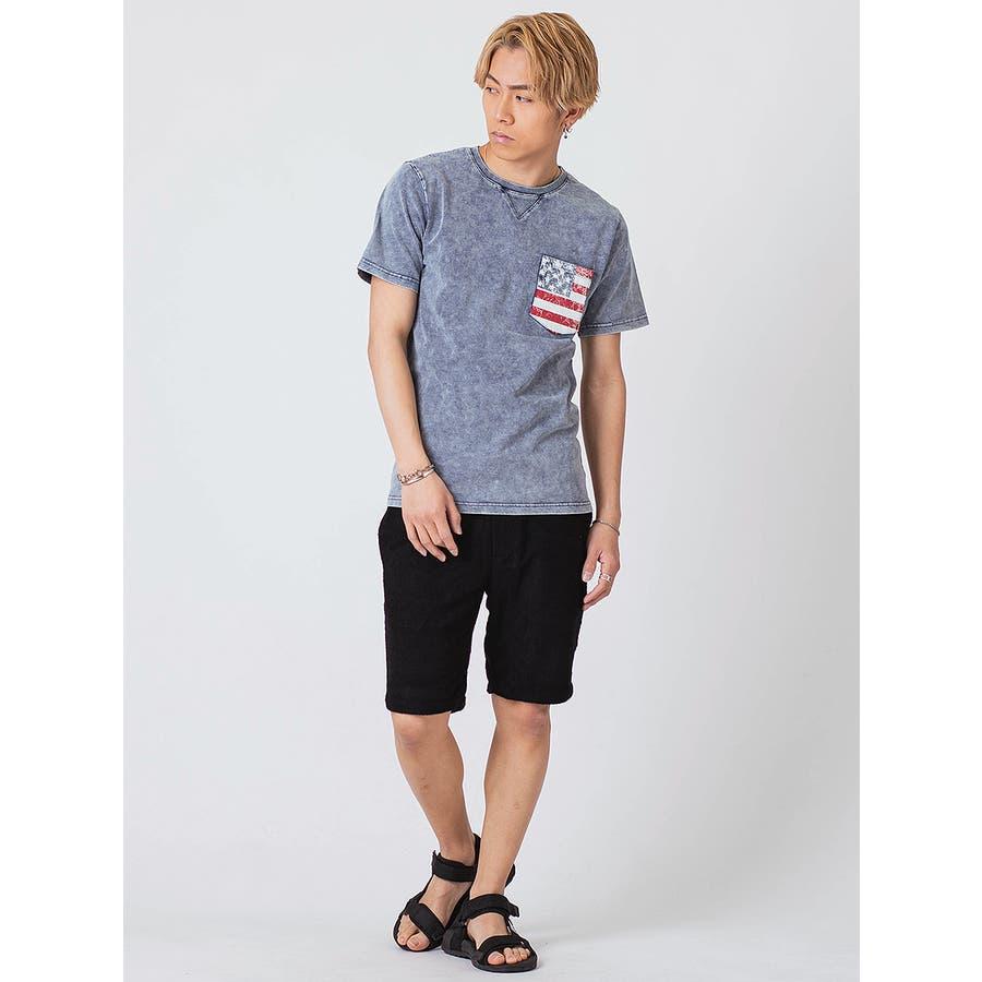 インディゴ染ポケ付きTシャツ 5