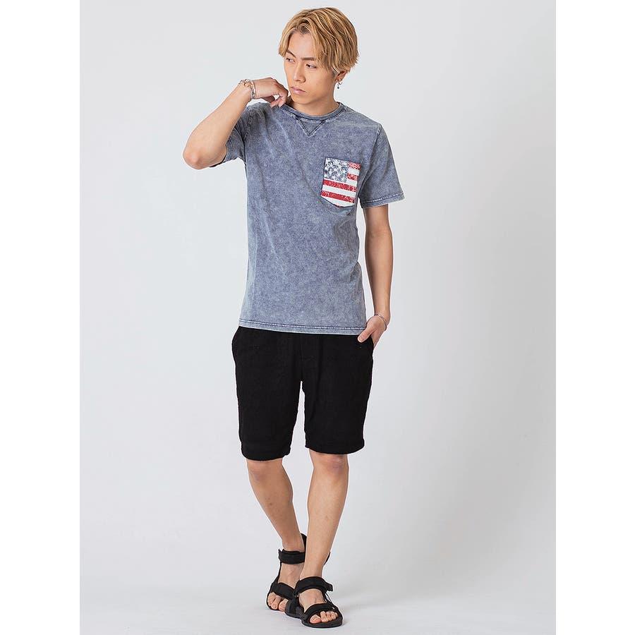 インディゴ染ポケ付きTシャツ 7