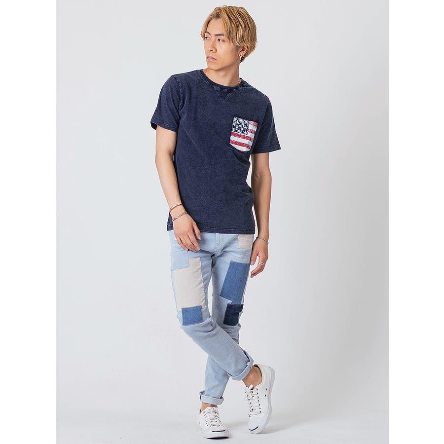 インディゴ染ポケ付きTシャツ 10