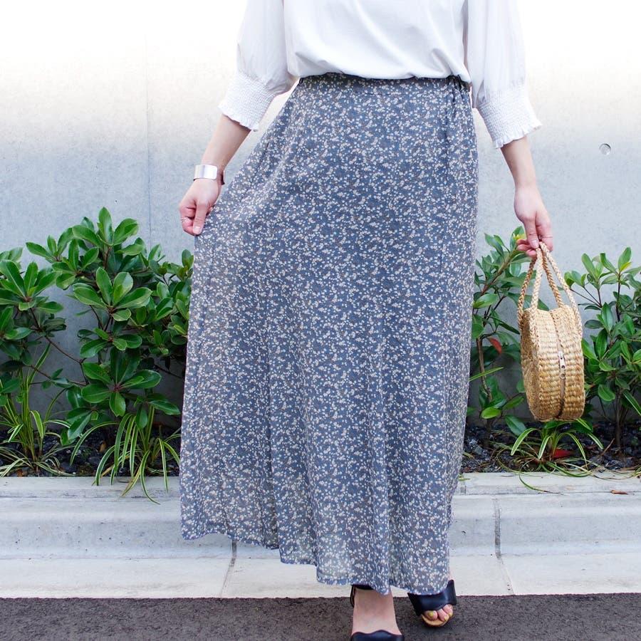 スカート ロングスカート マキシ レディース ファッション 花柄 小花柄 30代 20代 体型カバー マーメイド ウエストゴム裏地付き プチプラ 5
