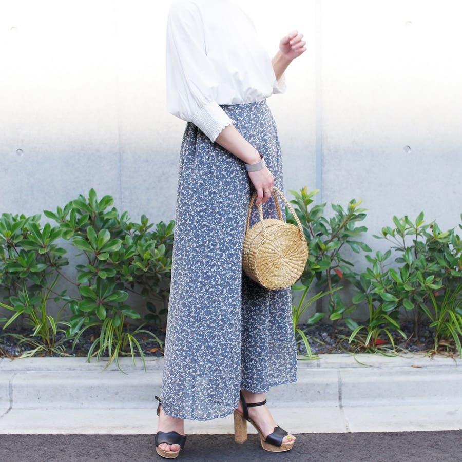 スカート ロングスカート マキシ レディース ファッション 花柄 小花柄 30代 20代 体型カバー マーメイド ウエストゴム裏地付き プチプラ 8
