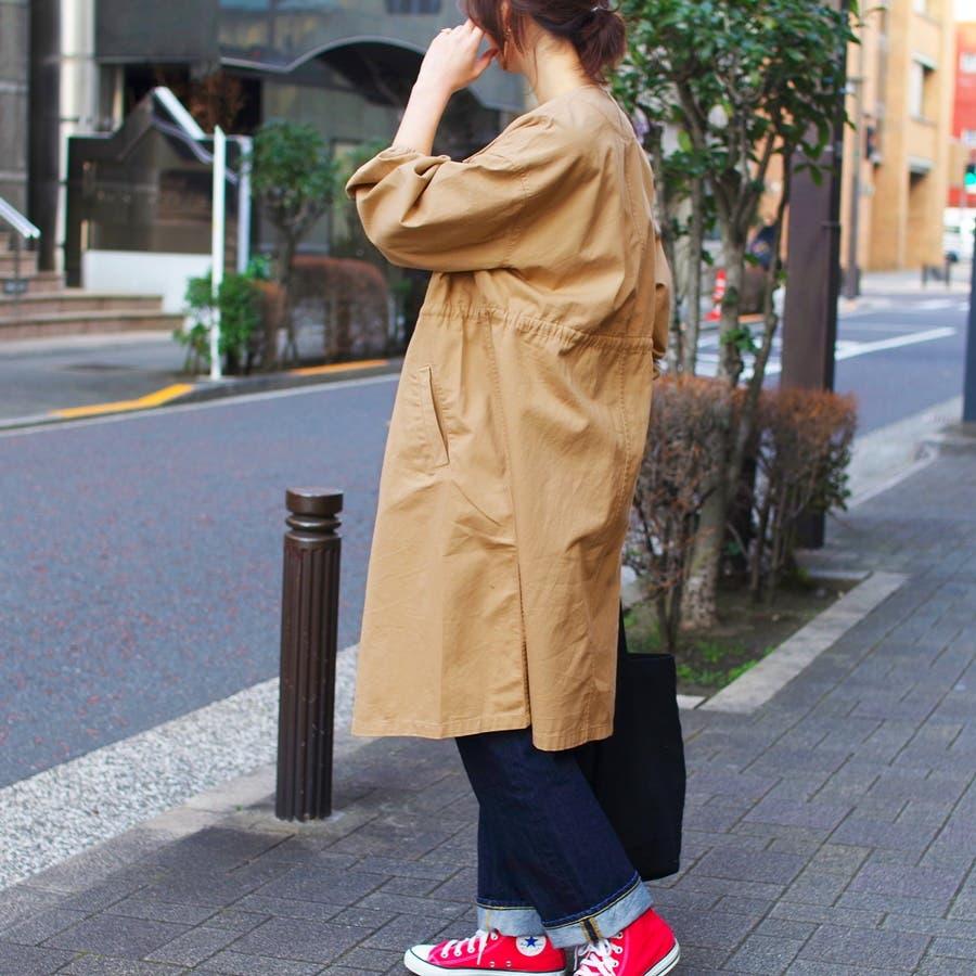 レディース ファッション ゆったり 秋 冬 アウター コート ロング モッズコート カジュアル シンプル 大きめオーバーサイズノーカラー 9