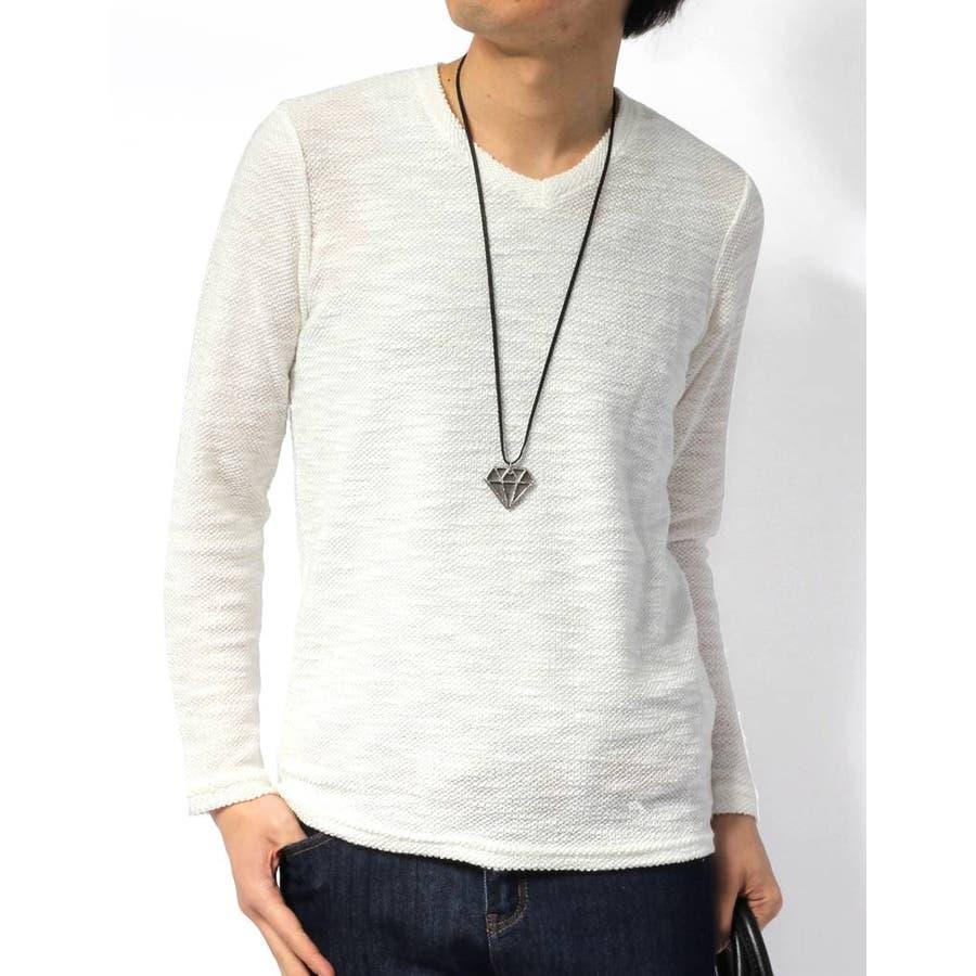 一着持ってて損は無い Tシャツ メンズ カットソー Vネック 杢 スラブ 長袖 スラブTシャツ 杢スラブ長袖Tシャツ 会員