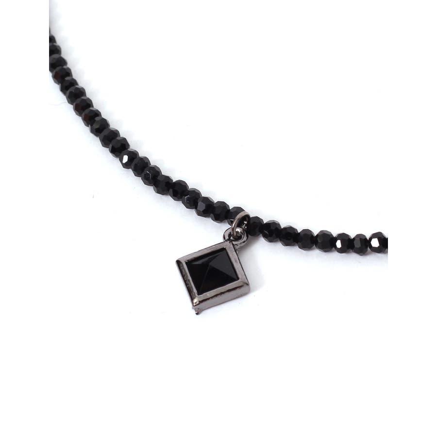 コスパなメンズファッション ネックレス メンズ チョーカー スピネル ブラックスピネル スクエアペンダントトップブラックスピネルネックレス 爆音