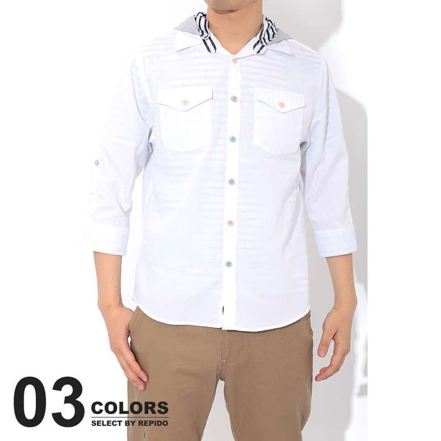 最高に今年っぽい シャツ メンズ レイヤード ボーダーTシャツ オックスフォードシャツ アンサンブル 七分袖 7分袖 半端丈 二枚 セット 初陣
