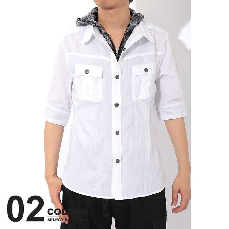 買って本当良かった! メンズファッション通販フードシャツ メンズ フード付き シャツ 5分袖 五分袖 フェイク レイヤード シャツ パーカー 無地 拷問