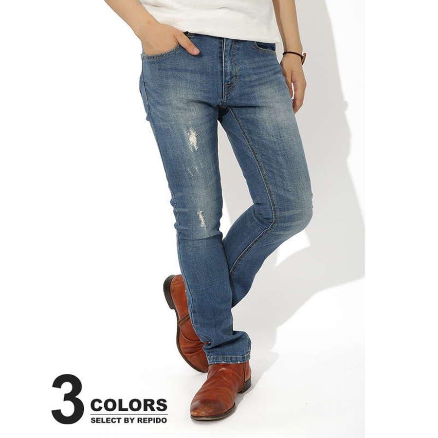 全体的にクオリティーヤバいです! メンズファッション通販デニムパンツ メンズ デニム ジーパン ジーンズ ストレッチ ダメージ加工 ビンテージ ヴィンテージ スリム タイト スタイリッシュ 激化