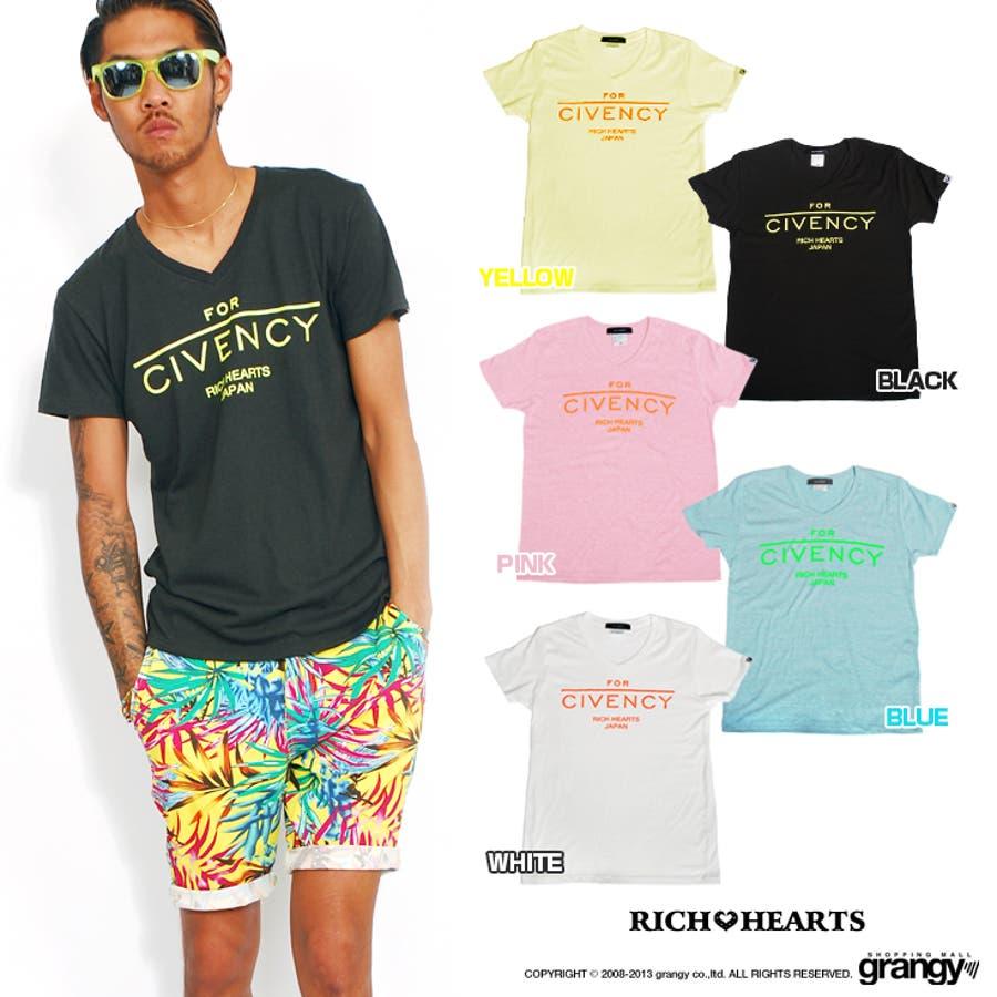 リッチハーツ RICH HEARTS メンズ Tシャツ 半袖ネオンカラーロゴプリントTEE海外セレブ セレブ