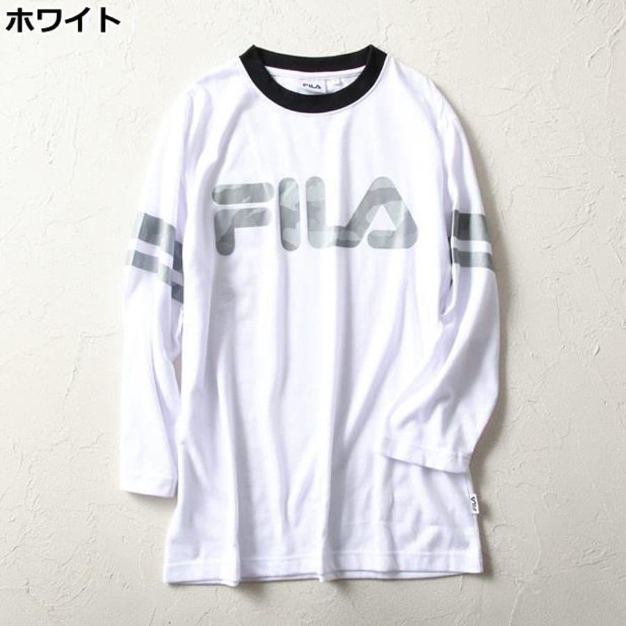 スタイリッシュに決まる 迷彩プリント7分袖Tシャツ メンズRight-on,ライトオン,FM9981-15SSBN,FILA,フィラ 哀歌