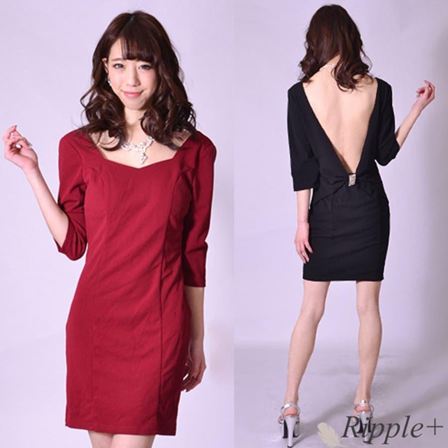 ドレス キャバ ミニ キャバドレス 背中開き袖付きタイトミニドレス ワンピース ナイトドレス キャバクラ キャバ