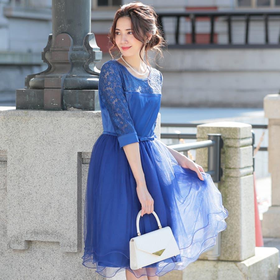 パーティードレス ドレス 結婚式 ワンピース 袖あり ミニドレス ミニ ミディアム 膝丈 大きいサイズ, パーティドレス結婚式ドレスフレア チュール  花柄 レース 二次会 リボン フォーマル 20代 30代 40代 七分袖 体型カバー