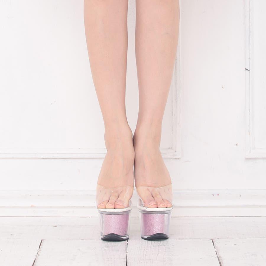 サンダル キャバ 17cmヒール ミュール 大きいサイズ 靴 シューズ ラメ クリア キラキラ ピンヒール ハイヒール 厚底パーティー パーティ キャバ嬢 キャバクラ 7