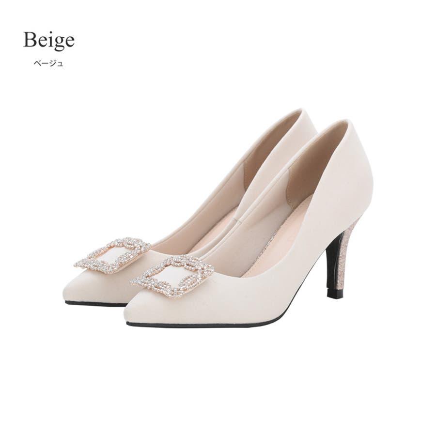 bceb75afc185a パンプス結婚式8cmヒール大きいサイズポインテッドトゥ靴シューズビジューピンヒールハイヒール二次会