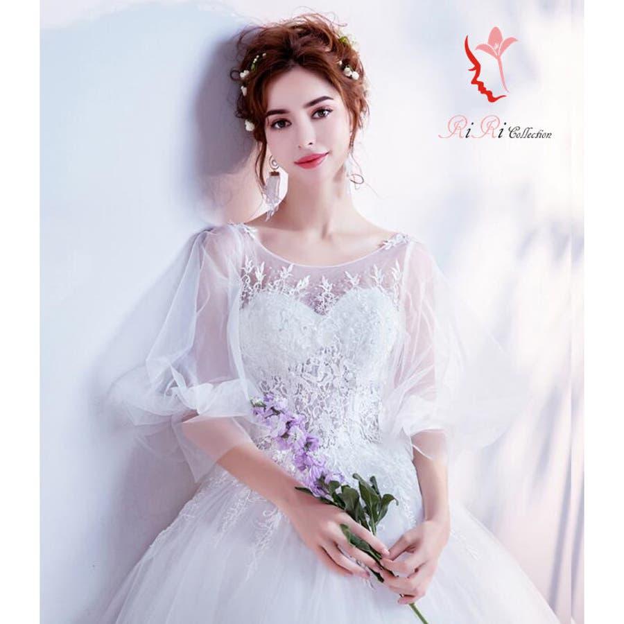 f05a471d44150 新作 ウェディングドレス フレアバルーン袖 フラワー flower セクシー ドレス カラードレス 結婚式 ...