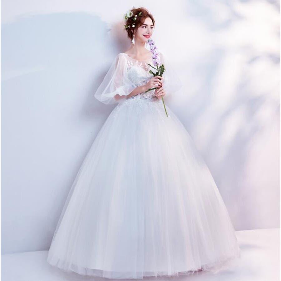 新作 ウェディングドレス フレアバルーン袖 フラワー Flower セクシー