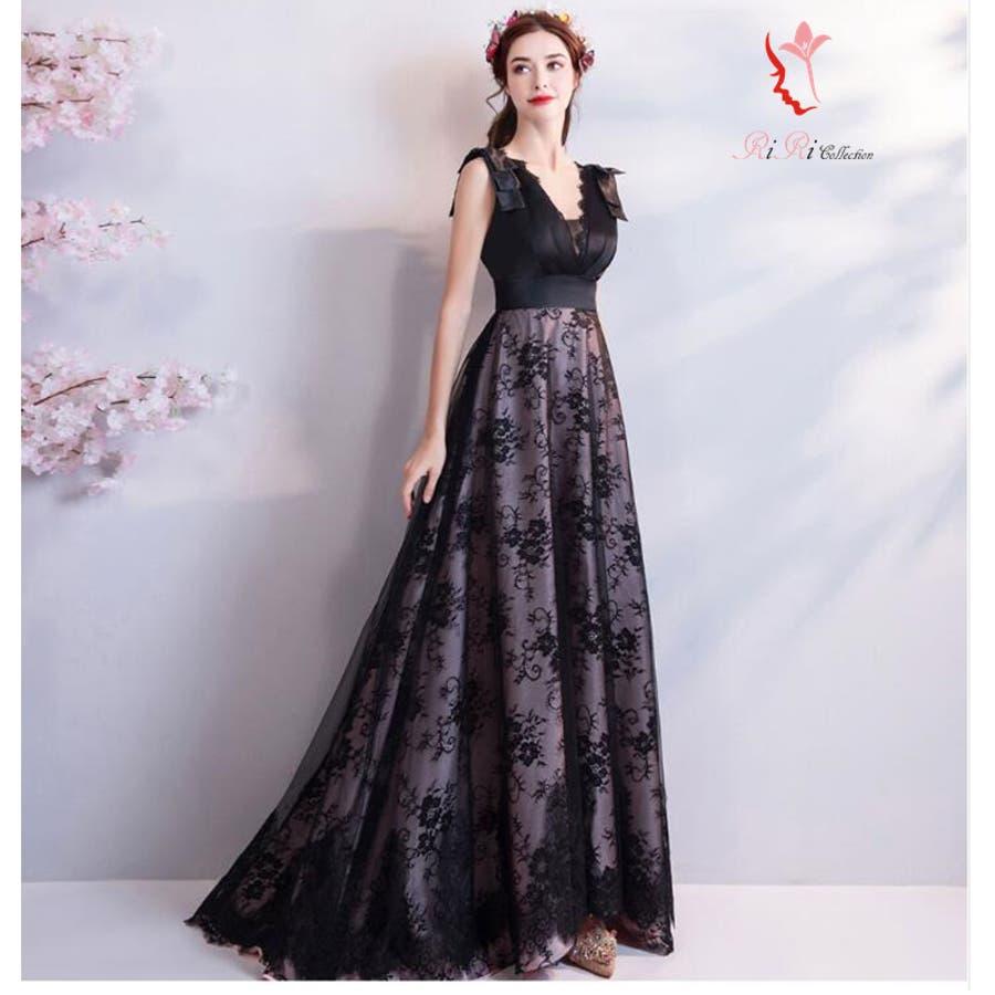 3e9a68c38454c 2018 新作 ブラック 黒 カラードレス ドレス 上品 編上げ 結婚式 披露宴 ...