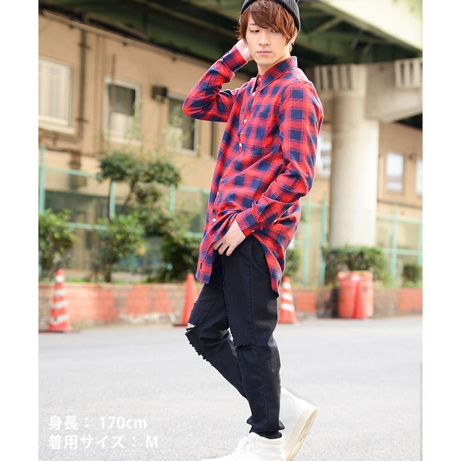 ストリート系 ロング丈 チェックシャツ ネルシャツ 長袖 春 夏 秋 冬 10代 20代