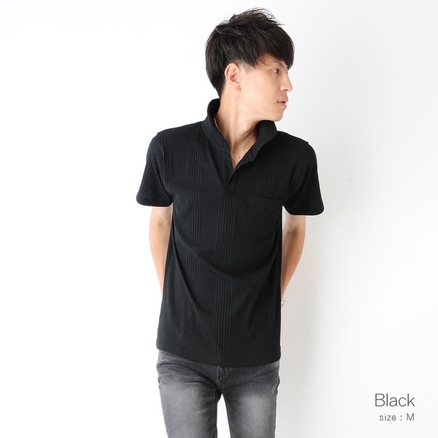 スキッパー半袖ポロシャツ メンズ スキッパー ヘンリー ネック カットソー 半袖 ポロシャツ メンズ ROCK STE ロクステ 4