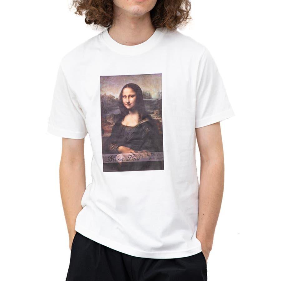 絵画転写プリント 半袖Tシャツ メンズ 丸首 絵画Tシャツ クルーネックTシャツ プリントTシャツ カジュアル モード ストリートホワイト ROCK STE ロクステ 20