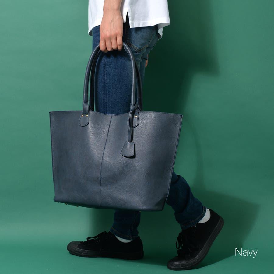 本革風PUトートバッグ メンズ ショルダー 大容量 肩掛け ワンショルダー ビジネス 大きい PU レザー 合皮 カバン 鞄 軽量ROCK STE ロクステ 76