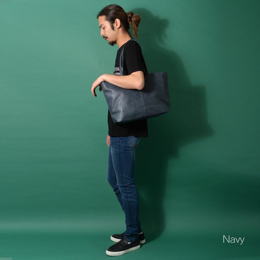 多機能PUレザートートバッグ メンズ ショルダー 大容量 肩掛け ワンショルダー ビジネス 大きい PU レザー 合皮 カバン 鞄軽量 ROCK STE ロクステ 4