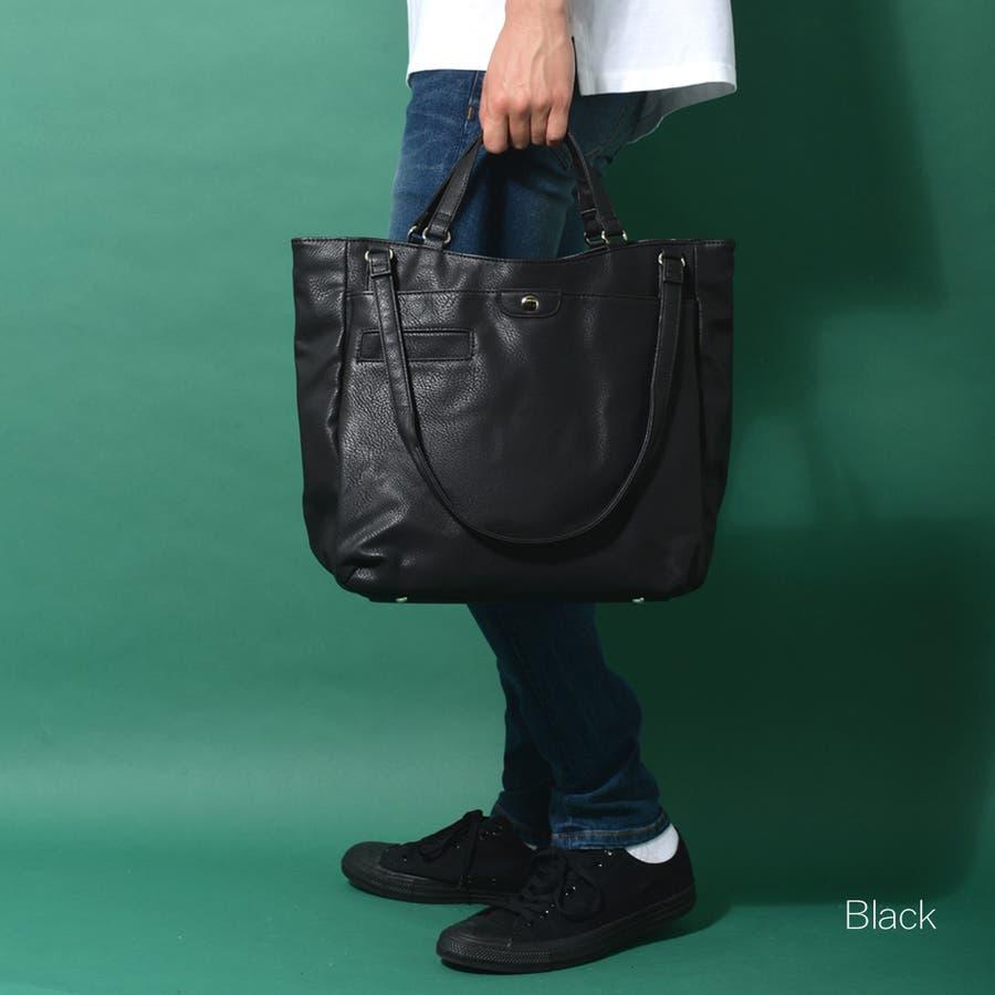 ダブルハンドルネオレザートートバッグ メンズ ショルダー 大容量 肩掛け ワンショルダー ビジネス 大きい PU レザー 合皮 カバン鞄 軽量 ROCK STE ロクステ 22