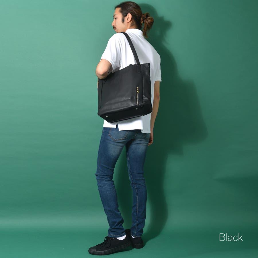 ダブルハンドルネオレザートートバッグ メンズ ショルダー 大容量 肩掛け ワンショルダー ビジネス 大きい PU レザー 合皮 カバン鞄 軽量 ROCK STE ロクステ 4