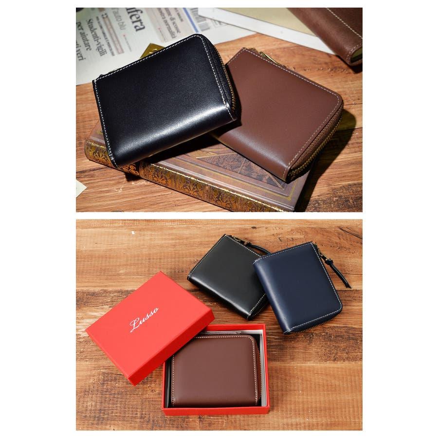 本革Lジップミニ財布 メンズ 高級本革使用 大容量 多機能 財布 ビジネス 本革 おしゃれ ROCK STE ロクステ 2