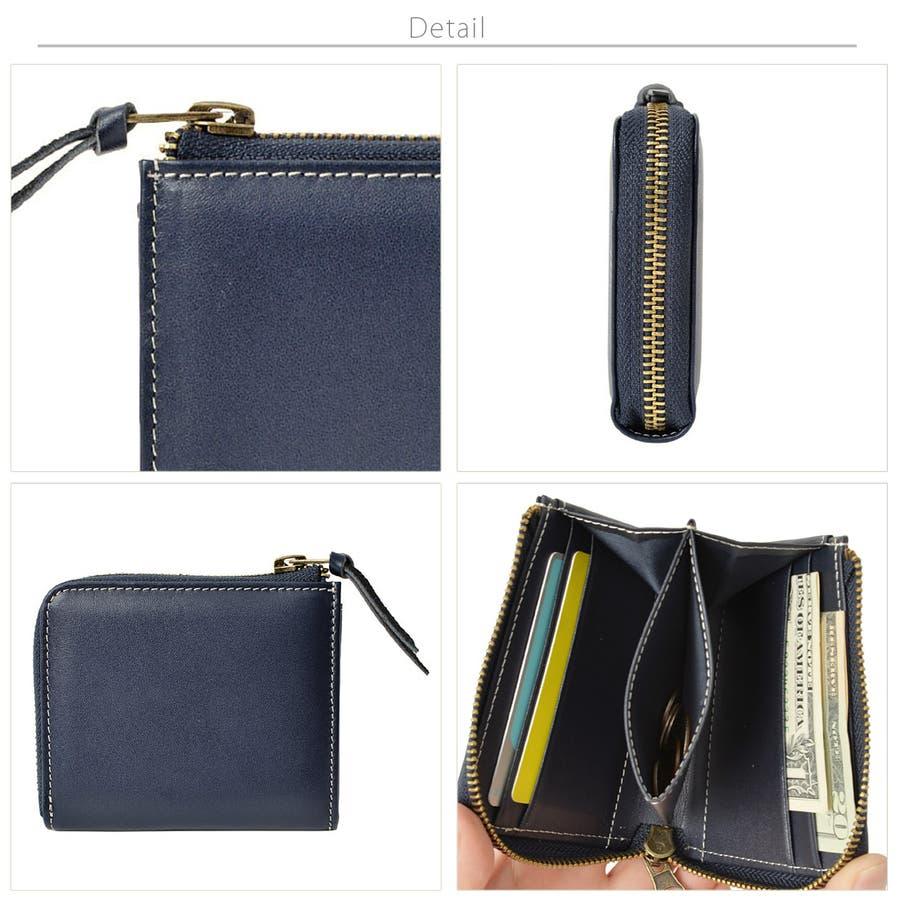 本革Lジップミニ財布 メンズ 高級本革使用 大容量 多機能 財布 ビジネス 本革 おしゃれ ROCK STE ロクステ 7