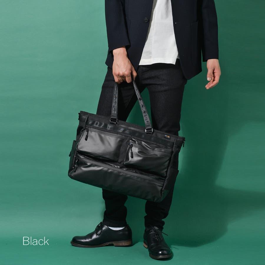 コーデュラ3wayマルチポケットビジネストートバッグ メンズ ショルダー 大容量 肩掛け ワンショルダー ビジネス 大きい PUレザー 合皮 カバン 鞄 軽量 ROCK STE ロクステ 22