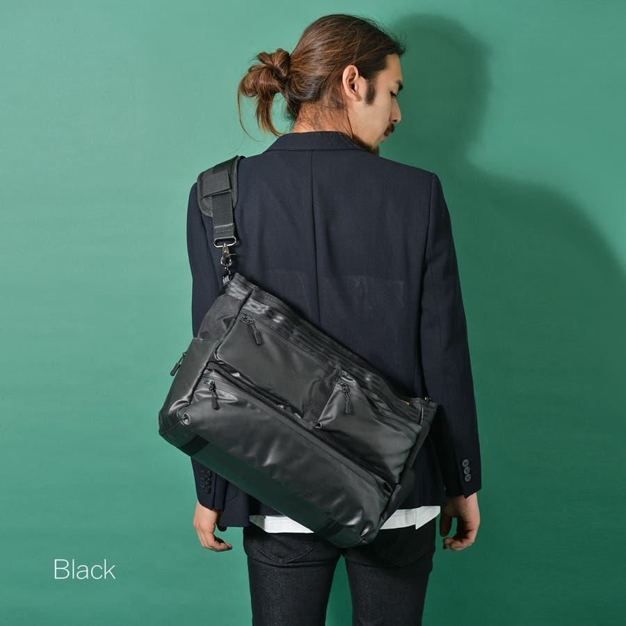 コーデュラ3wayマルチポケットビジネストートバッグ メンズ ショルダー 大容量 肩掛け ワンショルダー ビジネス 大きい PUレザー 合皮 カバン 鞄 軽量 ROCK STE ロクステ 5