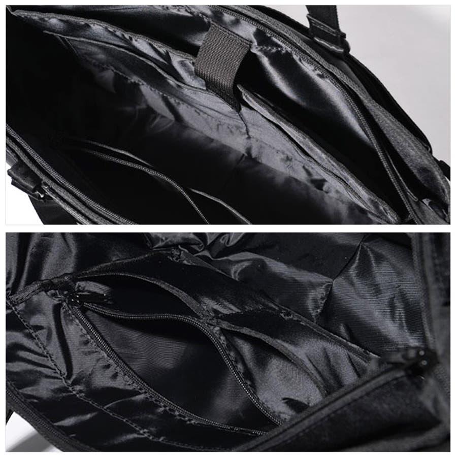 コーデュラ3wayマルチポケットビジネストートバッグ メンズ ショルダー 大容量 肩掛け ワンショルダー ビジネス 大きい PUレザー 合皮 カバン 鞄 軽量 ROCK STE ロクステ 9