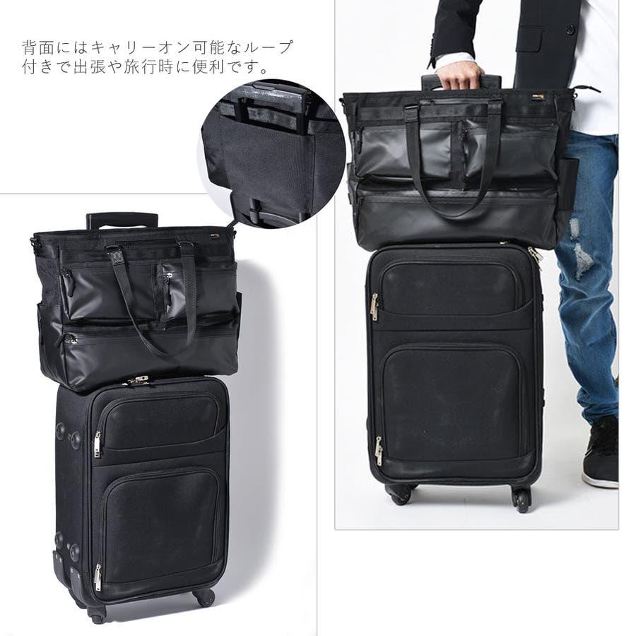 コーデュラ3wayマルチポケットビジネストートバッグ メンズ ショルダー 大容量 肩掛け ワンショルダー ビジネス 大きい PUレザー 合皮 カバン 鞄 軽量 ROCK STE ロクステ 3