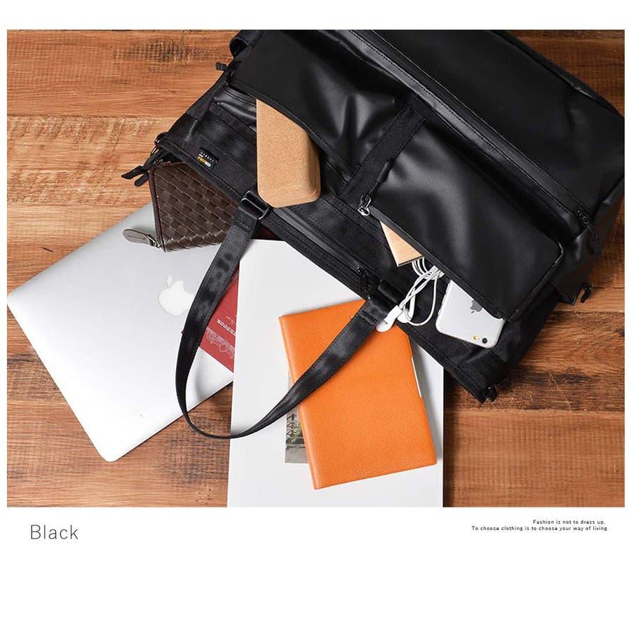 コーデュラ3wayマルチポケットビジネストートバッグ メンズ ショルダー 大容量 肩掛け ワンショルダー ビジネス 大きい PUレザー 合皮 カバン 鞄 軽量 ROCK STE ロクステ 4