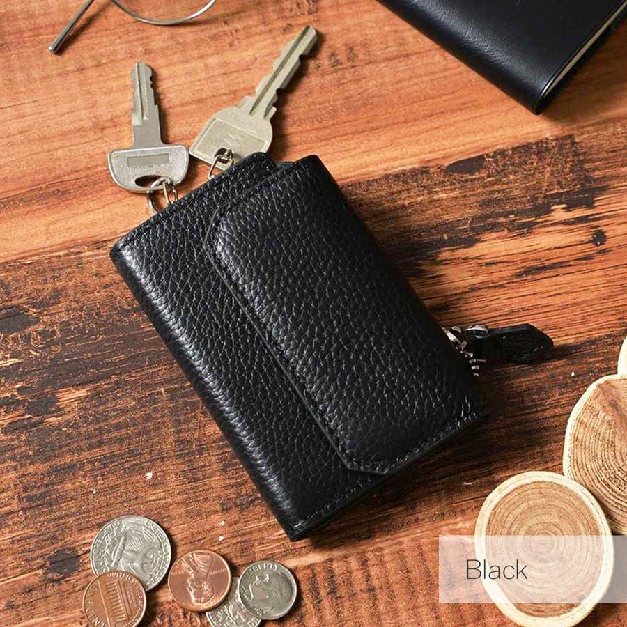 本革シュリンクレザーコインポケット付キーケース メンズ 高級本革使用 大容量 多機能 コインポケット キーケース ビジネス 本革ブラック おしゃれ ROCK STE ロクステ 22