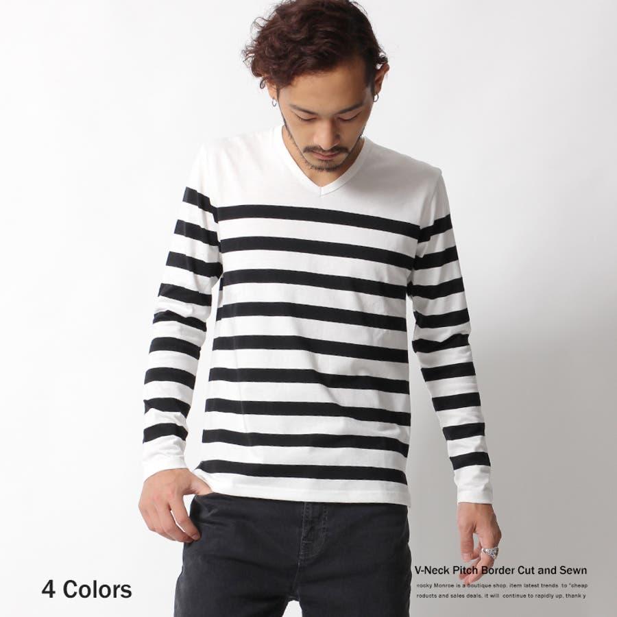 色合いが良く気に入りました メンズファッション通販ボーダーTシャツ メンズ 長袖 ロンT Vネック マリンボーダー カットソー トップス 太ボーダー4726 02P05Sep15  秋冬 春 巨悪
