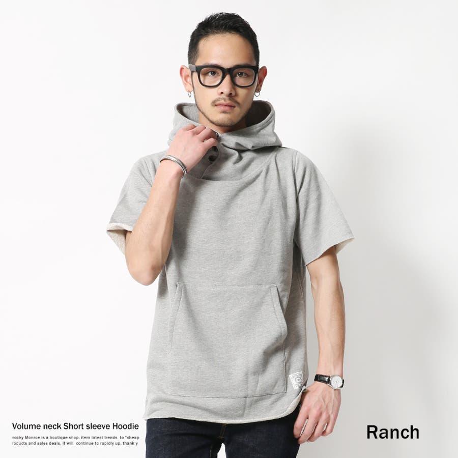購入して良かったです メンズファッション通販パーカー メンズ プルオーバー 半袖 ボリュームネック 裏毛 Ranch ランチ RA16-012 5747 極熱