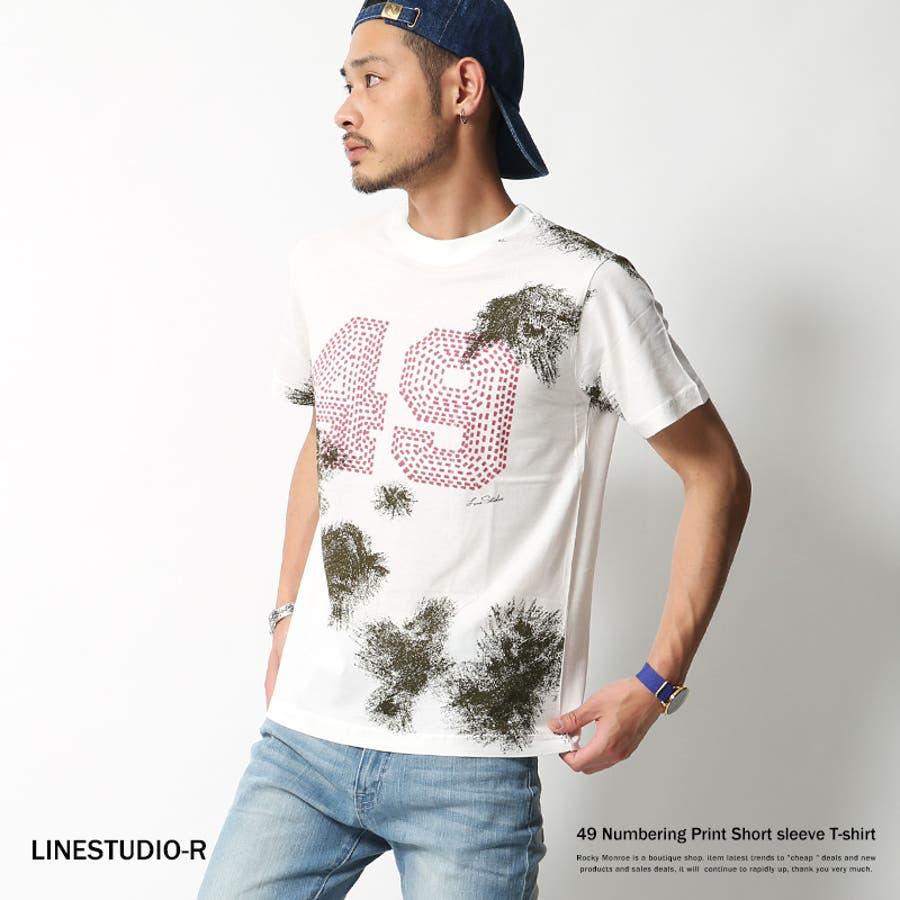 ファッションのキーポイントになる メンズファッション通販Tシャツ メンズ プリントTシャツ クルーネック 半袖 カットソー ナンバリング LINESTUDIO-R 070-960145787 芸域