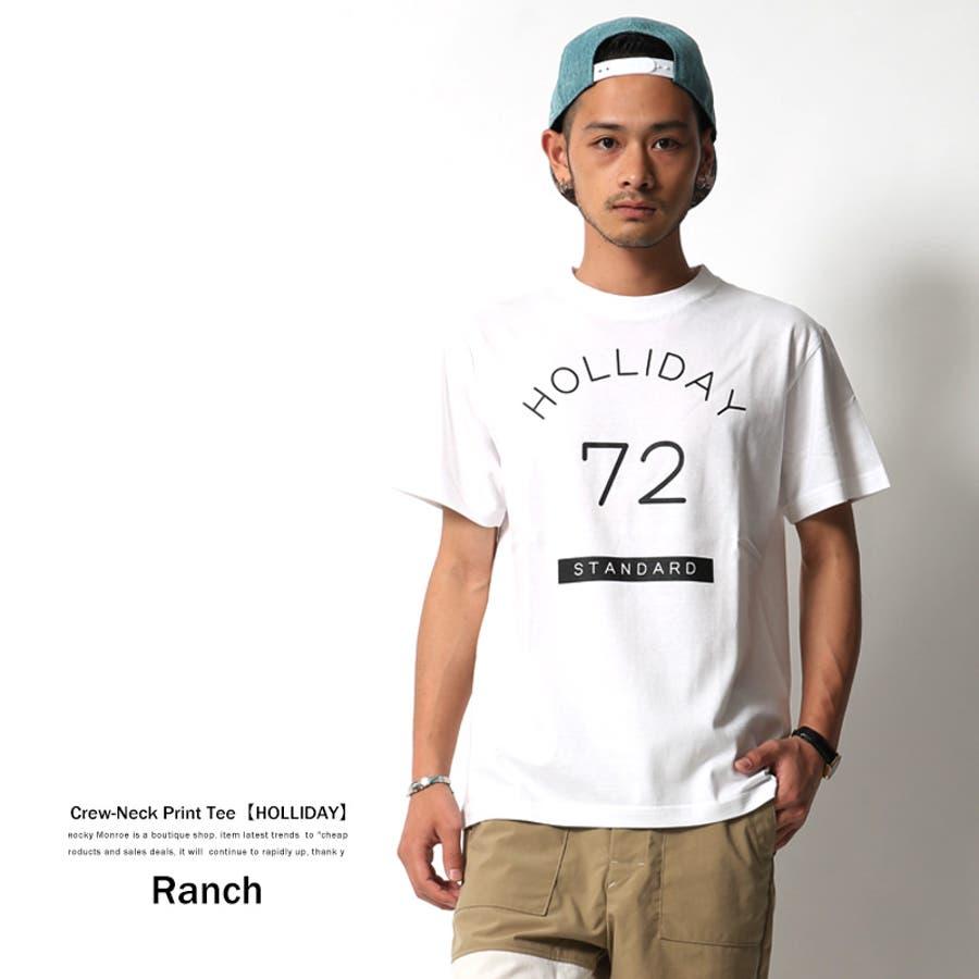 生地にツヤ感があってキレイ Tシャツ メンズ 半袖 プリント クルーネック カジュアル プリントT Ranch ランチ RA16-ST31A 6120 終局